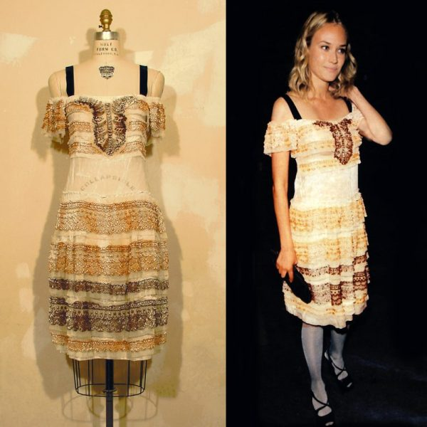 abito biacca Prada con Diane Kruger